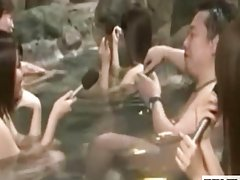 Shy nude Japanese schoolgirl outdoor bathing interview