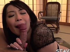 Pleasing asian with nylons gives blowjob in threesome