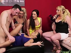 brunette cfnm lick blondes blowjobs