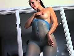 brunette nylon solo big tits masturbate