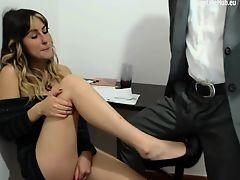 brunette european babes foot masturbate