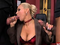 handjob lingerie threesome big tits blondes