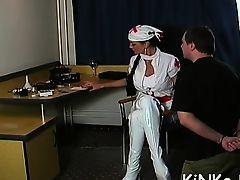 brunette femdom fisting foot latex