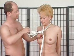 milf blonde tits tied