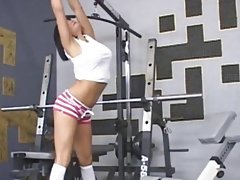 busty naked chick gym