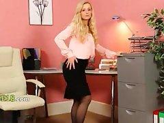 jerking watching blonde secretary panties