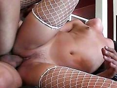 brunette couple boobs asian stocking