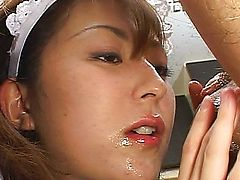 couple boss maid cumshot brunette