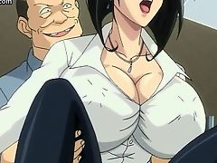 Big titted anime attains anally screwed