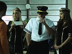 Hot blondie stewardess Janie Summers fucked by his airplane