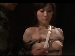 Naked Eastern army girl gets tortured with sweaty wax in ropes