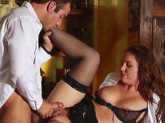 Flashing redhead secretary seducing her boss