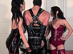 bdsm fetish handjob latex threesome