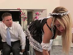blondes tits uniform maid boobs