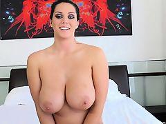 brunette solo big tits masturbate topless