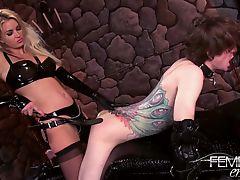 bdsm femdom strapon blondes domination