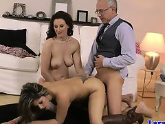 brunette european old+young threesome matures