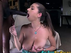 Busty ho takes black cock