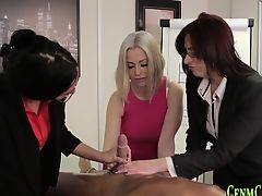brunette cfnm european femdom handjob