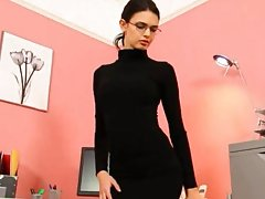 Secretary in sexy black heels undressing